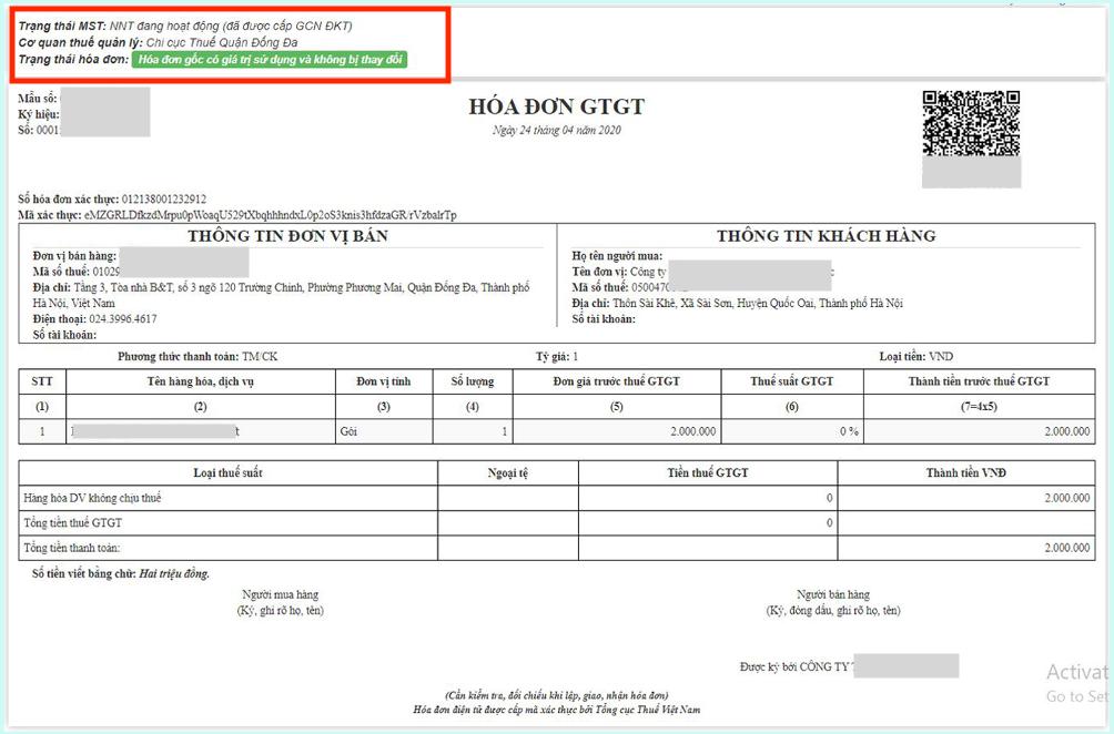 Kết quả xác thực hóa đơn điện tử có giá trị pháp lý tại trang tra cứu Tổng Cục Thuế